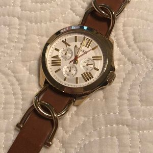 Fossil brown leather gold watch